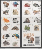 USA, 2016, MNH, PETS, TURTLES, LIZARDS, SNAKES, FISH, BIRDS, CATS, MICE, DOGS,HORSES, HAMSTERS, BOOKLET