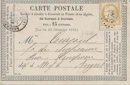 FRANC FRANCE FRANCIA  1871 CERES 30 CENT POST CARD OBLITERE 378 BUREAUX Besançon - 1871-1875 Ceres