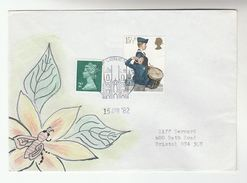 1982 York  GB Stamps COVER Art SPECIAL HAND PAINTED  BEE INSECT FLOWER Design