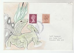 1982 Newcastle Upon Tyne GB Stamps COVER Art SPECIAL HAND PAINTED LIZARD Reptile Design - Reptiles & Amphibians