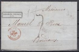 1860 - Cessione Di Nizza Alla Francia - Trattato Di Torino - Piego Da Nizza Per Bordeaux - Sardinia