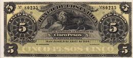 * COSTA RICA 5 PESOS 1899 P-S163r NEUF - Costa Rica