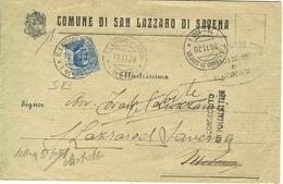 MICHETTI Cent.25, S 83, ISOLATO TARIFFA DISTRETTO LETTERA 5° PORTO,SAN LAZZARO DI SAVENA, DESTINATARIO SCONOSCIUTO, - 1900-44 Victor Emmanuel III