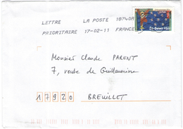 FRANCIA - France - 2011 - Lettre Prioritaire 20g Art Roman St-Sever - Viaggiata Da 18740A Per Breuillet, France - France
