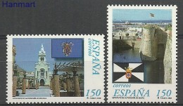 Spain 1998 Mi 3375-3376 MNH -  Castels And Palaces Churches / Cathedrals / Basilicae Flags / Banners Crests / Heraldry /