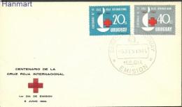 Uruguay 1964 Mi 972-973 FDC -  Red Cross  ( FDC ZS3 URG972-973 )