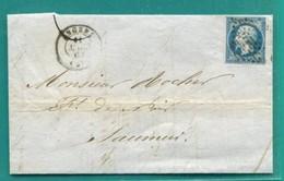 M10 :  TAD ANGERS SUR NAPOLEON 14 (au Dos)TAD CONVOYEUR AMBULANT NANTES  A PARIS + MARS 1862 + TAD SAUMUR + - Postmark Collection (Covers)