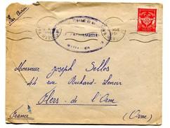 M 24 FRANCHISE MILITAIRE N° 12 SUR LETTRE BASE PAR AVION CACHET MILITAIRE LE VAGUEMESTRE BASE AERIENNE MARRAKECH 1951 - Military Postmarks From 1900 (out Of Wars Periods)