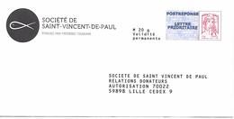 Prêt-à-poster. Enveloppe Réponse Ciappa-Kavena. Lettre Prioritaire. Société Saint-Vincent-de Paul. - Prêts-à-poster: Réponse /Ciappa-Kavena
