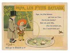 CHROMO IMAGE ALCOOL MENTHE RICQLES SERIE LES CHANSONS PAPA LES PETITS BATEAUX Dessin De Gerbault - Cromos