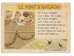 CHROMO IMAGE ALCOOL MENTHE RICQLES SERIE LES CHANSONS LE PONT D'AVIGNON Dessin De Gerbault - Cromos