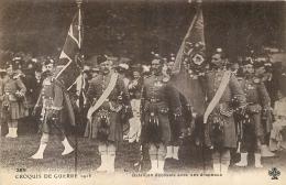 BATAILLON ECOSSAIS AVEC SES DRAPEAUX  CROQUIS DE GUERRE 1913 - Guerre 1914-18