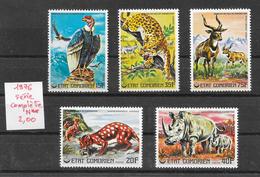 Animaux Divers Condor Léopard Panthère Rhinocéros - Comores N°170 à 174 1976 ** - Timbres
