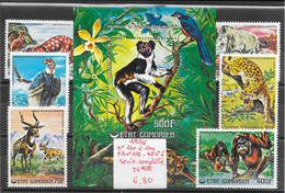 Animaux Divers Condor Lémurien Léopard Orang Outan Panthère Rhinocéros - Comores N°170 à 174, PA N°118, BF N°6 1976 ** - Stamps