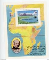 Sao Tome 1987-R.Hill-1er Vol -DC3-Dakota-Sao Tome Lisbonne 1949-MI B35***MNH-Dentelé-Vameur 30