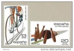 SpaMi.Nr.2577-78/  SPANIEN - 1983, Radsport, Kegeln ** - 1931-Heute: 2. Rep. - ... Juan Carlos I