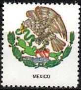 VIgnette Cinderella Seal Label Gummed - Mexico - Coats Of Arms - Cactus Kaktus Serpent Snacke Schlange Aigle Eagle Adler