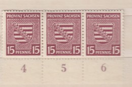 Alliierte Besetzung SBZ Prov. Sachsen 15 Pf. Wappen Mi 80 Y 1945 - Waagerechter 3er Rand-Streifen, ** Ungebraucht - Zone Soviétique
