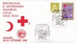 Spain Cover P/m Orduna 1988 Red Cross  (T9A10)