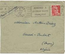 France Algérie Lettre 1948 Oblitération Mécanique Croix Rouge Rotten Kreuz Cruz Roja Red Cross Cover Belege Carta Sobre