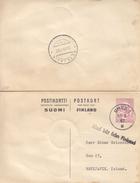 Finlande - Carte Postale De 1967 - Entier Postal - Oblit Umea - Griffe Med Bat Fran Finland - Exp Vers Reykjavik En Isla - Finland