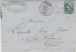 Cérès De Bordeaux Sur Lettre Cachet CAEN Calvados GC 691 - 25/7/1871 Pour Le Vigan Gard - Ambulant X 3