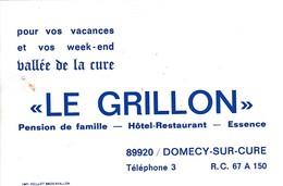 Carte Commerciale Hôtel Restaurant LE GRILLON / Vallée De La Cure / 89 Domecy Sur Cure / Yonne - Cartes