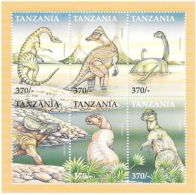 Tanzania - Dinosaurs, 1999 - Sc 1834 Sheetlet Of 6 Mint NH
