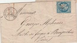 Cérès De Bordeaux Sur Lettre Cachet  AIGUEBELLE Savoie GC 20 - 16/5/1871 Pour Bonperthuis Passe Le Grand Lemps Isère