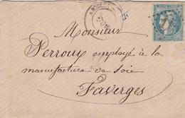 Cérès De Bordeaux Sur Lettre Cachet  ANNECY Haute Savoie GC 110 Pour Faverges