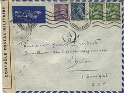 1939- Enveloppe De Bordeaux, Par Avion , Pour Thiès ( Sénégal ) Affr. à 2,90 F. Censure  U A 8  De Paris - Postmark Collection (Covers)