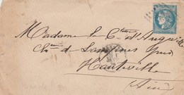 Cérès De Bordeaux Sur Lettre Cachet Jour De L'an 1 Janvier 1871 Pour Château De Lompnes Près Hauteville Ain