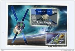 Jules Verne-Portrait-Espace-ESA-AL106-France 2007-Carte Maximum