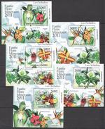 C69 2011 UNION DES COMORES FAUNE FLORE MINERAUX LES ORCHIDEES 5LUX BL MNH