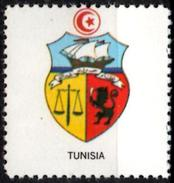VIgnette Cinderella Seal Label - Tunisia - Coats Of Arms - Arms Scales Of Justice Boat Lion Sword
