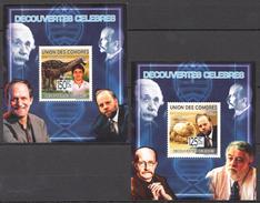 C76 2009 UNION DES COMORES SCIENCE DECOUVERTES CELEBRES 2LUX BL MNH