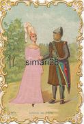 CHROMO - N° 1 - LOUIS IX - 1270 - (GENRE GAUFRETTE AVEC TISSUS MARRON, ET ROSE) - Victorian Die-cuts