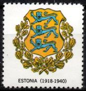 VIgnette Cinderella Seal Label - Estonia  - Coats Of Arms Lion Lions Löwen Löwe Leones Mammals Cats Fauna  Oak Branchs