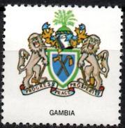 VIgnette Cinderella Seal Label - Gambia Coats Of Arms Lion Lions Löwen Löwe Leones Mammals Cats Fauna Axe Hoe Oil Palm