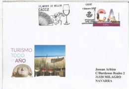 ESPAÑA FDC SPD CADIZ 12 MESES 12 SELLOS VINO WINE CABALLO HORSE RACING ABANICO