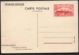 ENTIER POSTAL PAQUEBOT NORMANDI Neuf 1F25 Rouge 1939 Sinais COM V1...    G