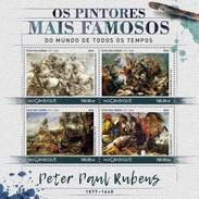 Mozambico 2016, Art, Rubens, Horses, 4val In BF