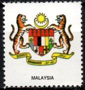 VIgnette Cinderella Seal Label Malaysia Coats Of Arms Tigre Tiger Tigers Crescent Star Croissant étoile Stern