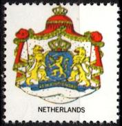 VIgnette Cinderella Seal Label - Netherlands - Coats Of Arms Lion Lions Löwen Löwe Leones Mammals Cats Sword
