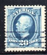 XP2494 - SVEZIA 1911, 20 Ore Azzurro Unificato N.  66  Usato Used . Punto Di Trasparenza