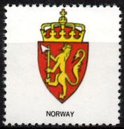 VIgnette Cinderella Seal Label - Norway - Coats Of Arms Lion Lions Löwen Löwe Leones Mammals Cats Crown Blade