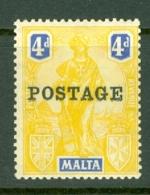 Malta: 1926   Emblem  'Postage' OVPT     SG150   4d     MH - Malta (...-1964)