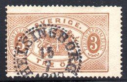 XP2495 - SVEZIA 1874 , 3 Ore Unificato N.  1A  Usato Used . Dentellato 13