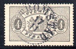 XP2496 - SVEZIA 1874 , 4 Ore Unificato N.  2A  Usato Used . Dentellato 13