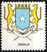 VIgnette Cinderella Seal Label - Somalia - Coats Of Arms Leopard Leopardo Leopards Cats Star Stern Palm Fronds Lances